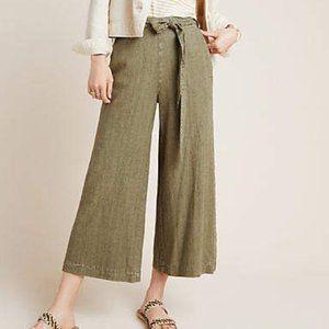 Anthropologie Olive Striped Wide Leg Linen Pants